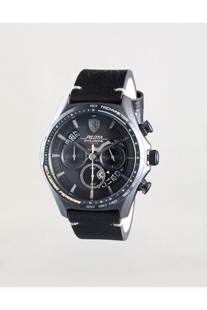 FERRARI Chronograph Pilota Evo watch with leather strap
