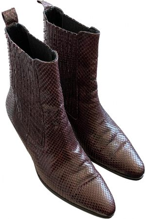 Sandro Burgundy Leather Ankle Boots
