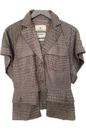 Bally Grey Leather Jackets