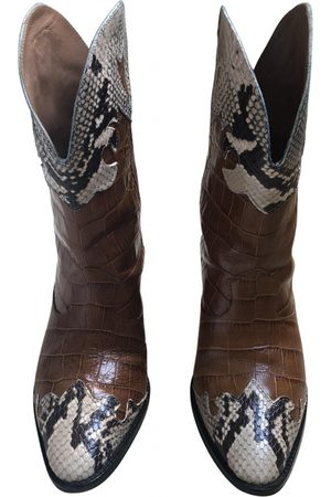 PARIS TEXAS Camel Leather Ankle Boots