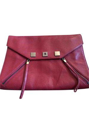 Karl Lagerfeld Burgundy Leather Clutch Bags