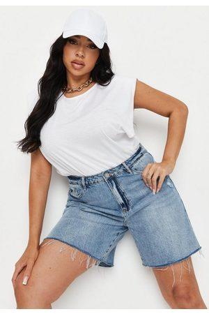 Missguided Plus Size Longline Denim Shorts