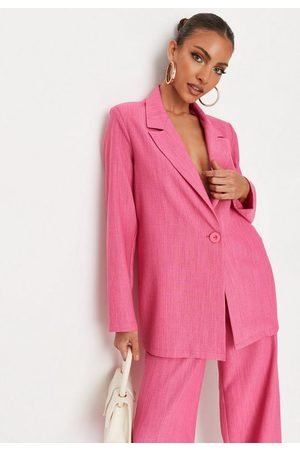 Missguided Women Blazers - Hot Linen Look Oversized Blazer