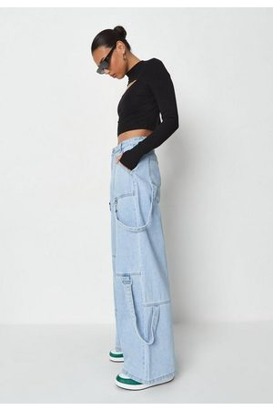 Missguided Light Utility Tab Wide Leg Jeans