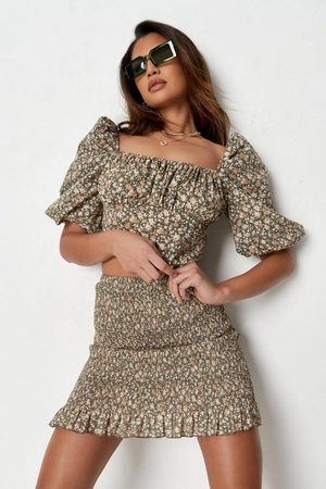 Missguided Co Ord Floral Puff Sleeve Corset Crop Top