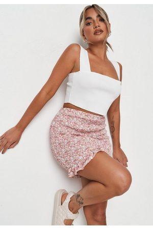 Missguided Women Printed Skirts - Pink Floral Print Shirred Frill Hem Mini Skirt