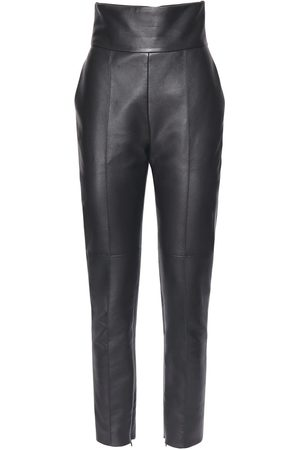 ALEXANDRE VAUTHIER High Waist Leather Straight Leg Pants