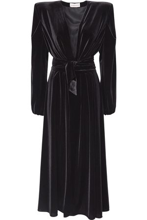 ALEXANDRE VAUTHIER Belted Stretch Velvet Jersey Long Dress