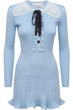 Self-Portrait Lurex Viscose Blend Knit Mini Dress