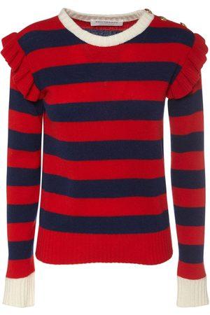 Serafini Wool Blend Ruffled Sweater