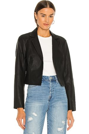BLANK NYC Faux Leather Cropped Blazer in Black.