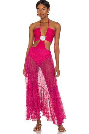 PATBO Cut Out Seashell Beach Dress in Fuchsia.