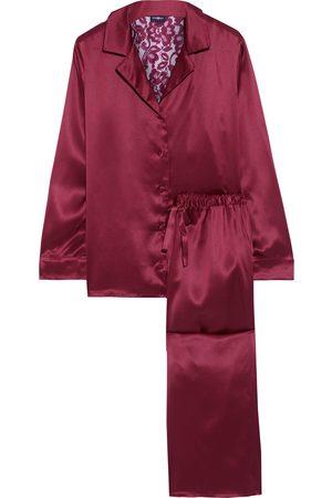 Cosabella Women Pajamas - Woman Anja Corded Lace-paneled Silk-satin Pajama Set Claret Size L