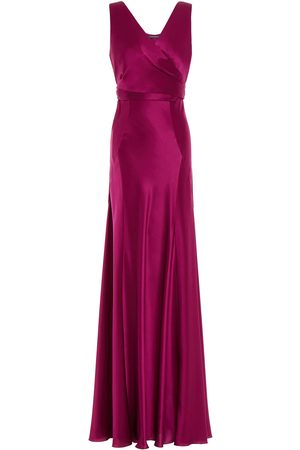 Alberta Ferretti Woman Silk-satin Wrap Gown Plum Size 38