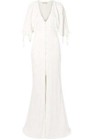 Les Héroïnes by Vanessa Cocchiaro Women Evening dresses - Les Héroïnes By Vanessa Cocchiaro Woman The Hedy Button-detailed Satin Bridal Gown Ivory Size 34