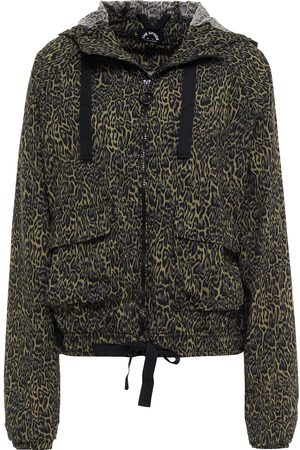 The Upside Woman Rami Leopard-print Shell Hooded Jacket Army Size L