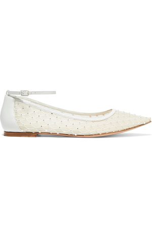 Gianvito Rossi Women Flat Shoes - Woman Rea Crystal-embellished Mesh And Leather Point-toe Flats Off- Size 38