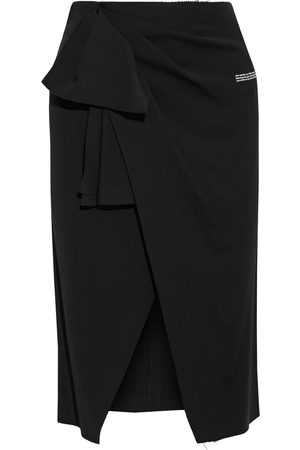 OFF-WHITE Woman Wrap-effect Printed Stretch-crepe Skirt Size 38
