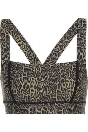 The Upside Women Sports Bras - Woman Maria Leopard-print Stretch Sports Bra Army Size L