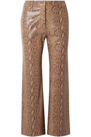 NILI LOTAN Woman Vianna Snake-effect Leather Flared Pants Animal Print Size 4