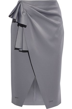 OFF-WHITE Woman Wrap-effect Printed Stretch-jersey Skirt Size 38