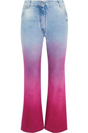 OFF-WHITE Woman Printed Dégradé High-rise Straight-leg Jeans Light Denim Size 24