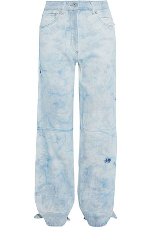 OFF-WHITE Woman Tie-detailed Bleached High-rise Straight-leg Jeans Light Denim Size 26