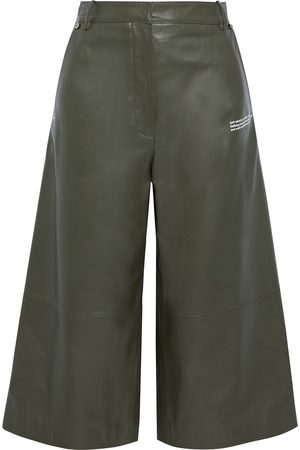 OFF-WHITE Women Leather Pants - Woman Printed Leather Culottes Army Size 36