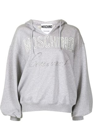 Moschino Women Hoodies - Couture embellished hoodie - Grey
