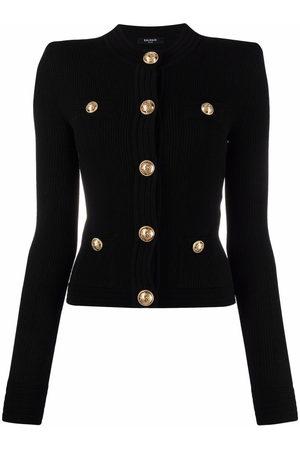 Balmain Women Cardigans - Button-embellished ribbed cardigan