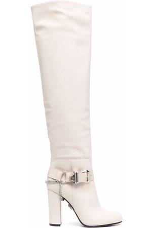 Philipp Plein Buckle-detail knee-high boots - Neutrals