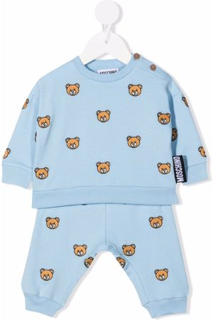 Moschino Teddy bear-embroidery cotton tracksuit
