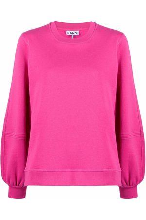 Ganni Puff-sleeve jersey sweatshirt