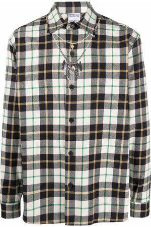 MARCELO BURLON Feather checked shirt - Neutrals