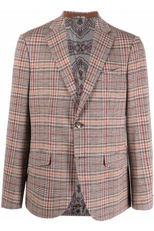 Etro Men Blazers - Plaid-check blazer - Neutrals