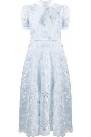 Self-Portrait Semi-sheer lace-overlay dress