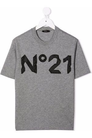 Nº21 Logo-appliqué cotton T-shirt - Grey