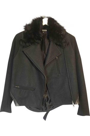 ANN DEMEULEMEESTER Anthracite Wool Leather Jackets
