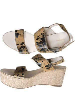Cortefiel Camel Leather Sandals