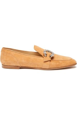 Jimmy Choo Mani Crystal-embellished Suede Loafers - Womens
