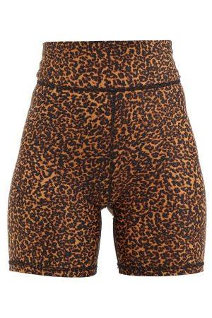 The Upside Women Sports Shorts - Mallorca Leopard-print Cycling Shorts - Womens - Animal