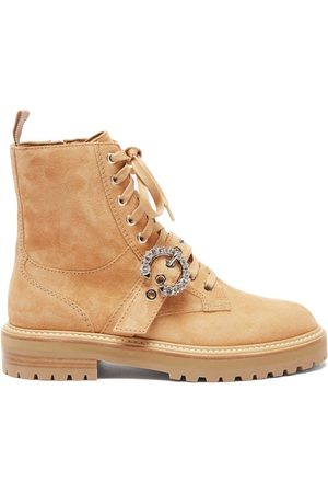 Jimmy Choo Cora Crystal-buckle Suede Boots - Womens