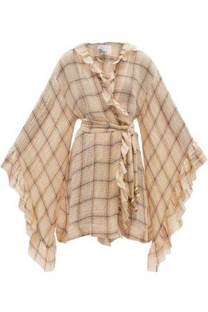Lisa Marie Fernandez Anita Ruffled Check Linen-blend Mini Dress - Womens