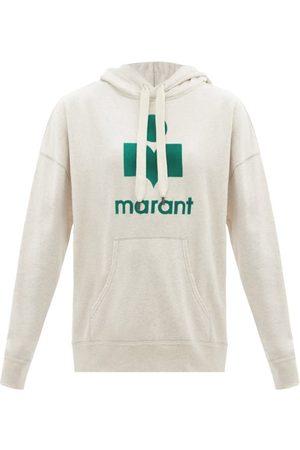Isabel Marant Mansel Flocked-logo Cotton-blend Hooded Sweatshirt - Womens - Ivory Multi