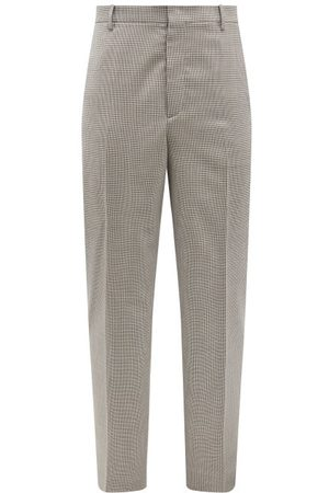 VALENTINO Gun-club Check Wool-twill Suit Trousers - Mens - Grey