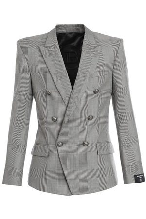 Balmain Double-breasted Prince Of Wales-check Wool Blazer - Mens - Grey