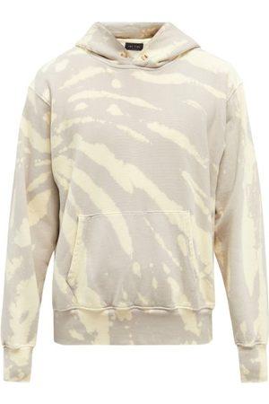 Les Tien Tie-dye Brushed-back Cotton Hooded Sweatshirt - Mens - Grey