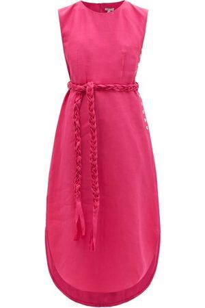BELIZE Lila Braided-belt Linen Midi Dress - Womens
