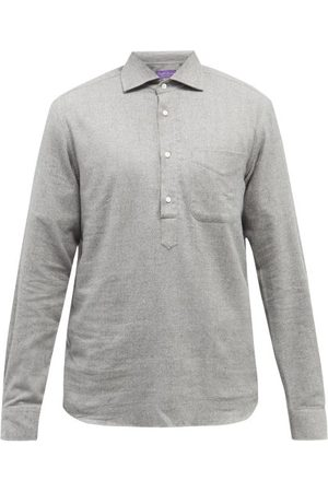 Ralph Lauren Men Shirts - Half-button Cotton-herringbone Shirt - Mens - Grey