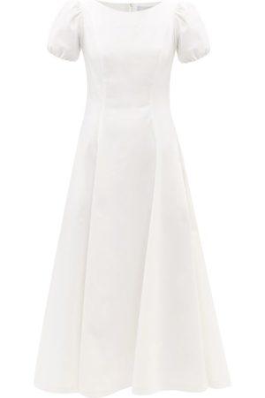LUISA BECCARIA Puff-sleeve Cotton-blend Crepe Midi Dress - Womens
